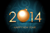 Vector 2014 Happy New Year blue background with gold christmas b — Stockvektor