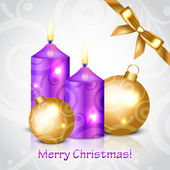 Vector Merry Christmas background with purple candles and decora — Vettoriale Stock