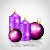 Vector Merry Christmas background with purple candles and bauble — Stock Vector