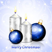 Vector Merry Christmas background with candles and blue decorati — Stok Vektör
