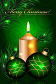 Vector Merry Christmas green background with baubles and candle — Stok Vektör
