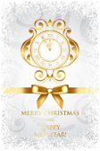 Vector Merry Christmas & Happy New Year background with gold clo — Stock Vector