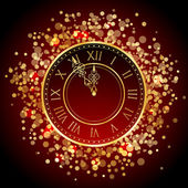 Vector red and gold New Year clock — Stock Vector