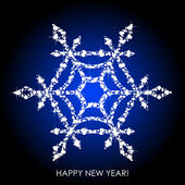 Vector illustration of snowflake from white sequins — Stock Vector