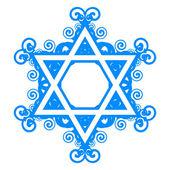 Vector star of David with floral decorations — Stock Vector