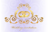 Vector purple wedding invitation with gold rings — Stockvektor