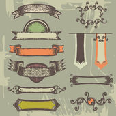 Set of vintage ribbons and labels. — Stock Vector