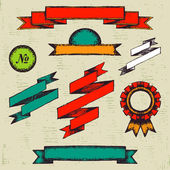 Set of vintage labels and ribbons — Stock Vector