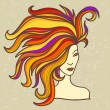 Girl with luxuriant hair — Stock Vector
