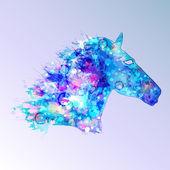 Horse illustration in blue tones — Stock Vector