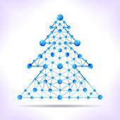 Blue molecule christmas tree. — Stock Vector