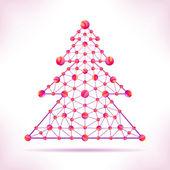 Red molecule christmas tree. — Stock Vector