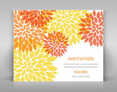 Orange floral invitation. — Stock Vector
