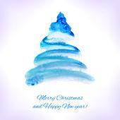 Watercolor Christmas card. — Stock Vector