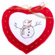 Red Heart with Snowman — Stock Photo