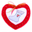 Red Heart with Christmas stocking — Stock Photo