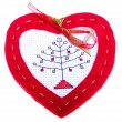 Red Heart with christmas tree — Stock Photo