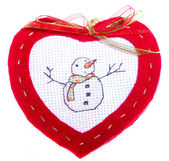 Red Heart with Snowman — 图库照片