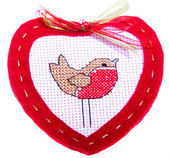 Red Heart with little bird — Stock Photo