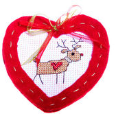 Red Heart with deer — Stock Photo