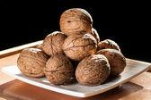 Pyramid of walnuts — Stock Photo