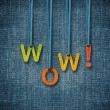 Wow word hanging by rope — Stock Photo #16488449