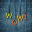 Wow word hanging by rope — Stock Photo