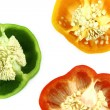 Slices of colorful sweet bell pepper - Stock Photo