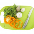 Parsley and mushroom on green Plastic board — Stock Photo