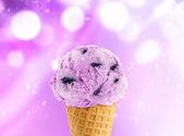 Blueberry Ice Cream cone — Stock Photo