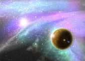 Mgławica kosmosu fantasy z planety i gwiazdy — Zdjęcie stockowe