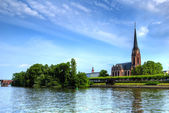Franckfurt church on the river — Stock Photo