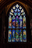 Stained glass in a church window — Stock Photo