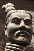 Terracotta warrior face in close up — Stock Photo