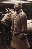 Terracotta warrior with horse, China — Stock Photo