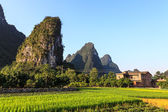 Village near limestone rock formations in South China — Stock Photo