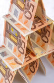 Card house of 50 euro banknotes — Stock Photo