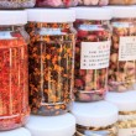 Herbal dry fruit and flower tea — Stock Photo