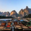 Tourist boats at the Li river , China — Stock Photo