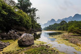Li river with limestone formations in the background — Stock Photo