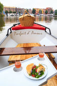 Sandwich and wine on a boat — Photo