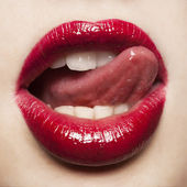 Glamour Red gloss lips — Stock Photo