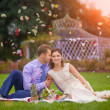 Romantic young couple picnic — Stock Photo