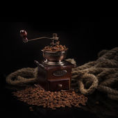 Coffee beans with coffee mill — Stock Photo