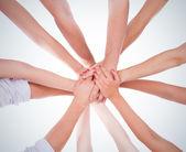 Trabajo en equipo del anillo manos — Foto de Stock