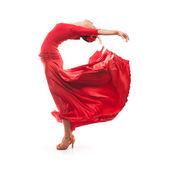 Woman dancer wearing red dress — Stock Photo