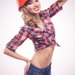 Young pinup woman with hardhat isolated — Stock Photo #23511181