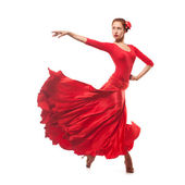 Woman dancer wearing red dress — Stock Photo