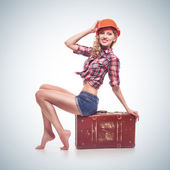 Young pinup woman isolated — Stock Photo