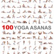100 yoga poses on white background — Stock Photo